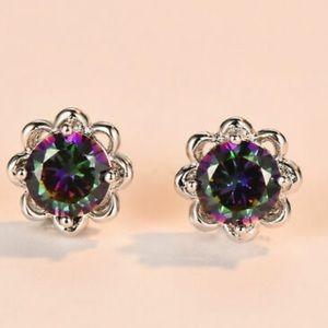 New 925 Sterling silver diamond earrings